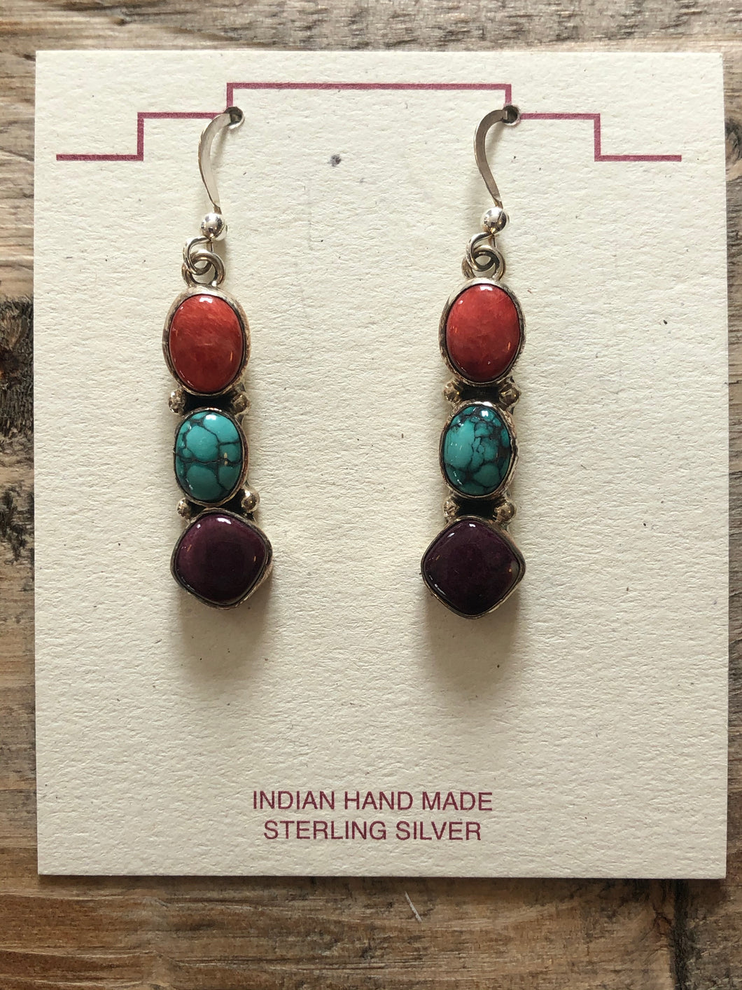Drop earrings, coral,turquoise and sugilite