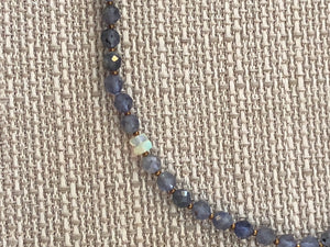 Necklace, faceted iolite
