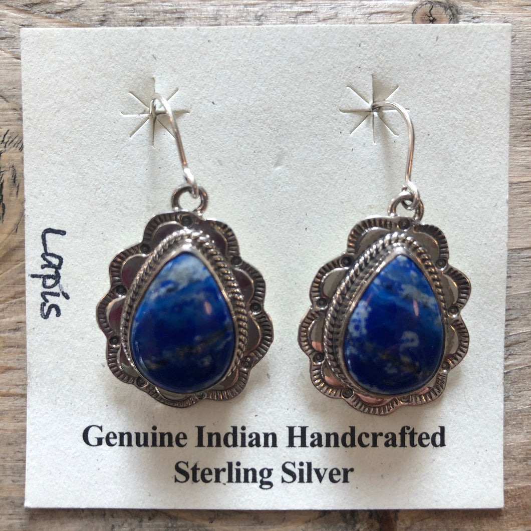 Lapis earrings, Sterling Silver