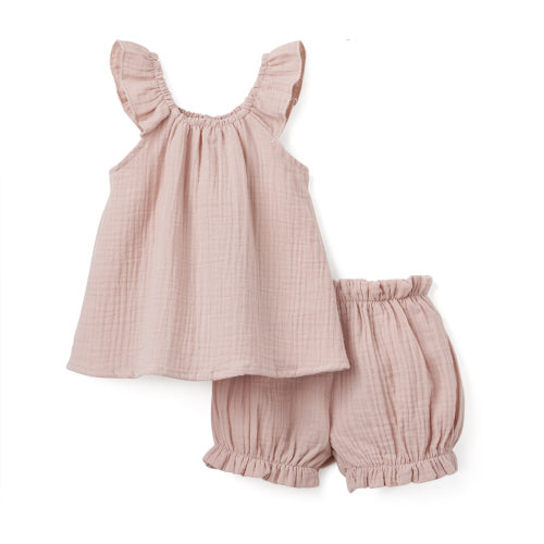 BLUSH PINK ORGANIC MUSLIN FLUTTER SLEEVE & BLOOMER SET