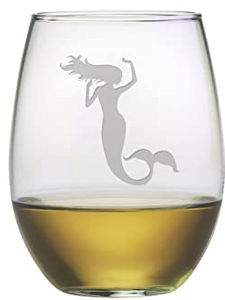 Mermaid Stemless Wine Glasses