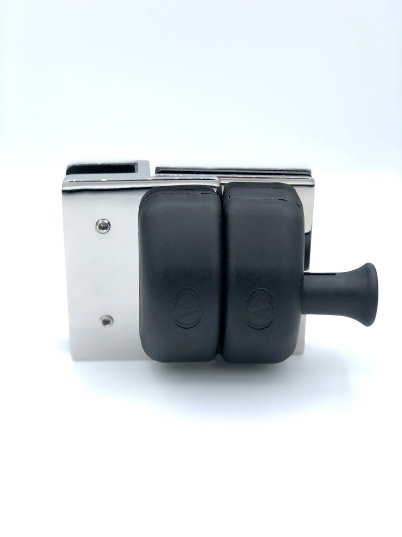 Glass to Glass Straight Latch (Black Plastic)