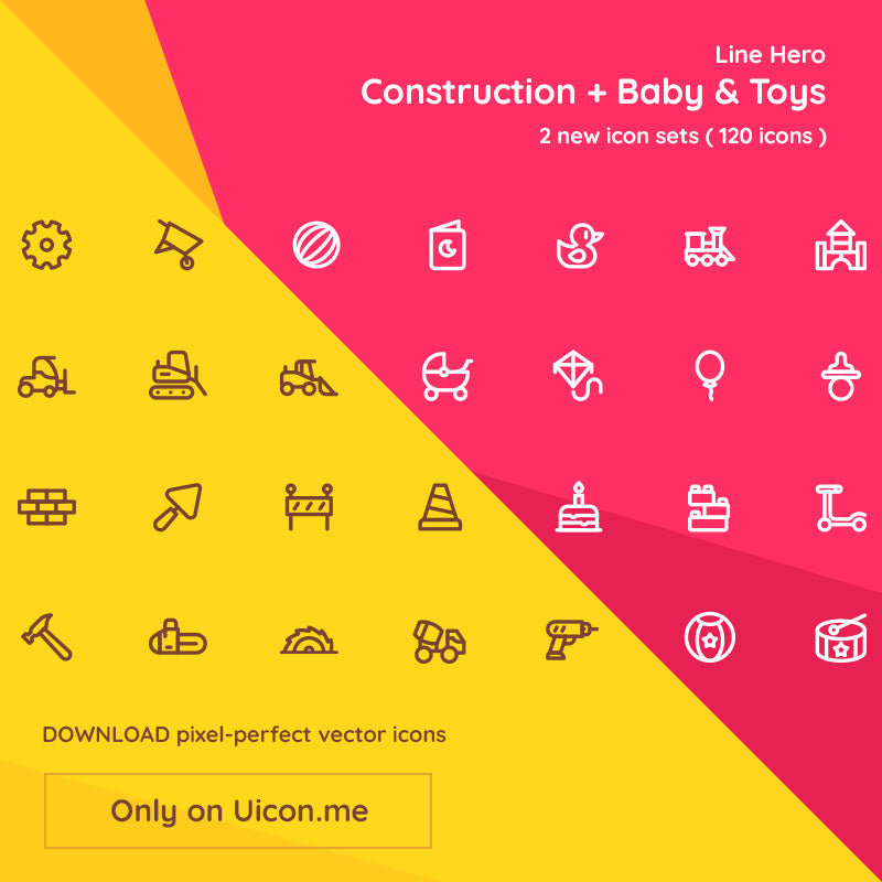 Double Line Hero Release - Construction + Baby & Toys (120 new icons)