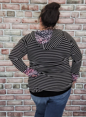 Stripes + Pink Leopard Hoodie Sweatshirts Stacked - Fashion for Curves