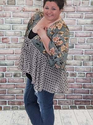 Sage + Ivory Floral Tie Front Kimono Tops Stacked - Fashion for Curves
