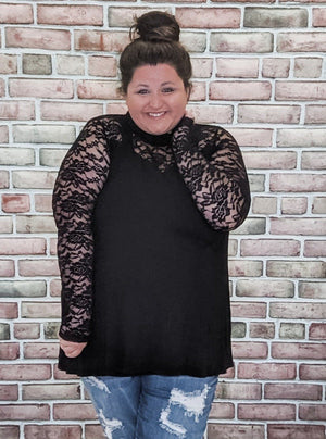 Black Lace Sweetheart Top