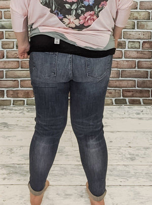 Kancan Cuffed Skinny Jeans Jeans Stacked - Fashion for Curves