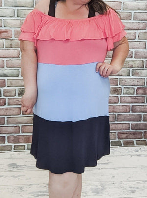 Coral + Blues Off Shoulder Dress