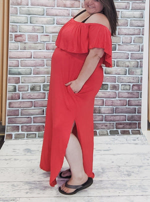 Coral Off Shoulder Maxi Dress