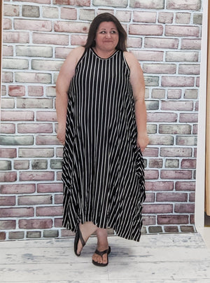 Black + White Vertical Striped Dress
