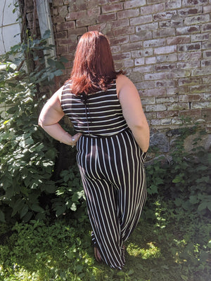 Black + White Striped Sleeveless Jumpsuit