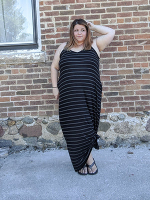 Double Vee Easy Maxi Dress in STRIPES! (more colors!) Dresses zenana