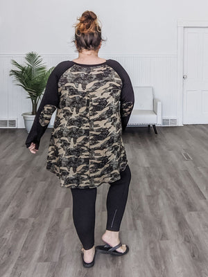 Camo Raglan Tunic w/Elbow Patches (more colors!) Tops cream and sugar