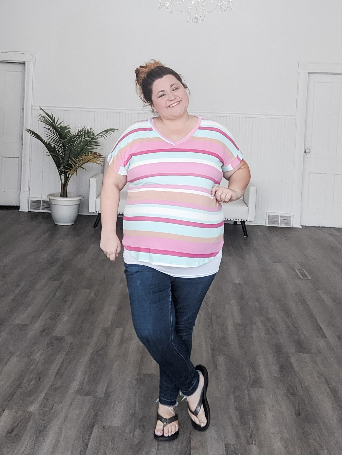 Bold Pink and Aqua Striped Vneck Tee Tops sweet lovely by jen