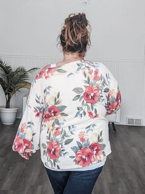 Ivory Bold Floral Off-Shoulder Top Tops pea and rose