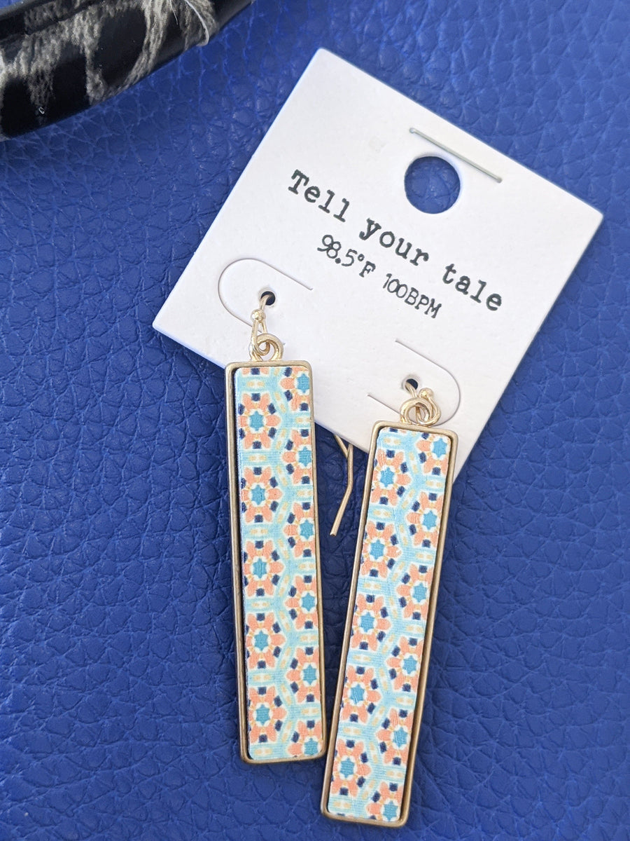 Rectangular Tile-Look Earrings