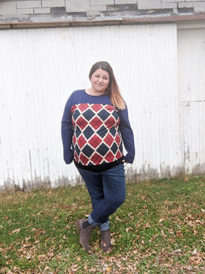 Coral + Navy Argyle Top Tops voll
