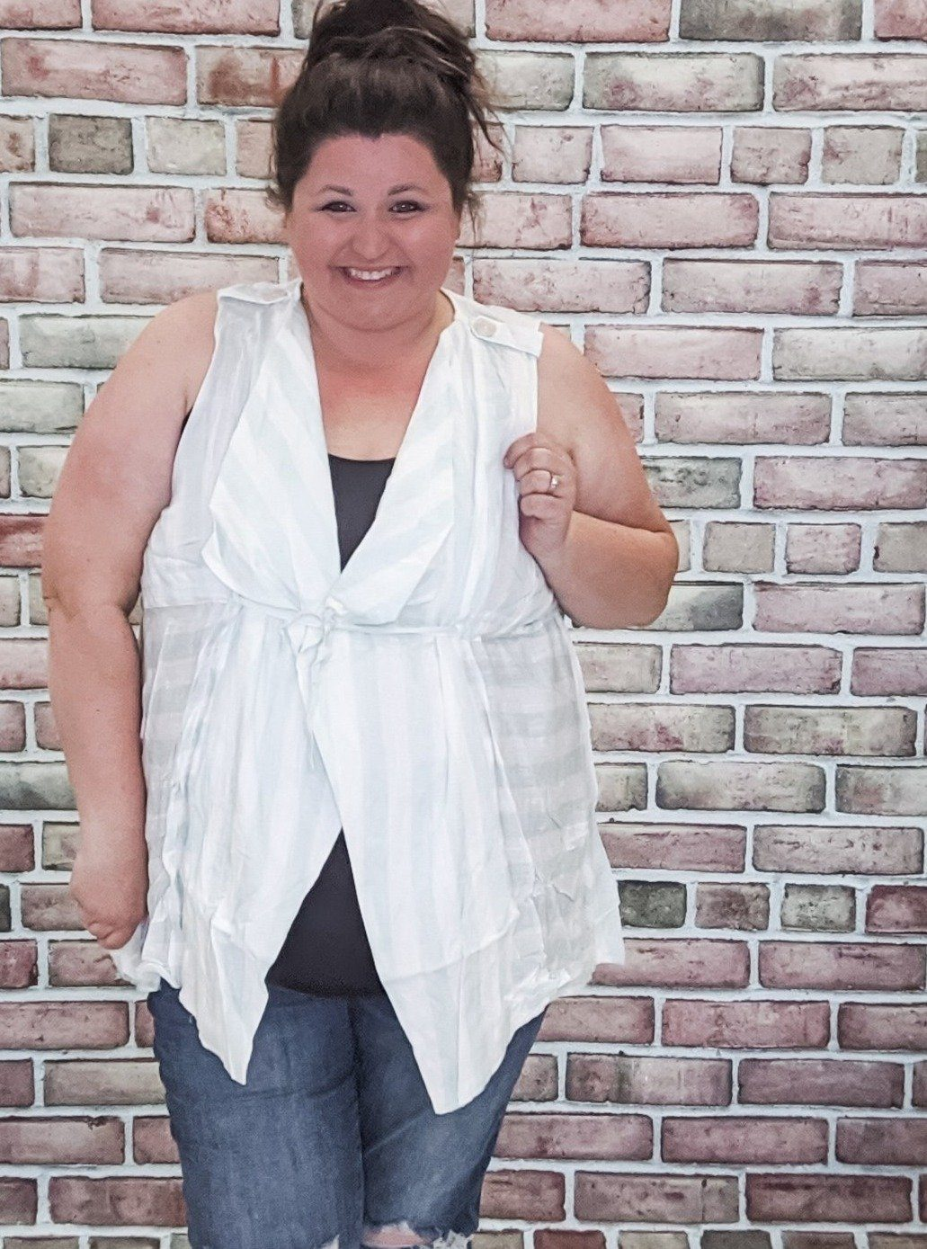 Striped Sleeveless Vest w/Tie (More Colors) Tops Stacked - Fashion for Curves