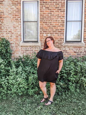 Black Off-Shoulder Dress Dresses sweet lovely by jen