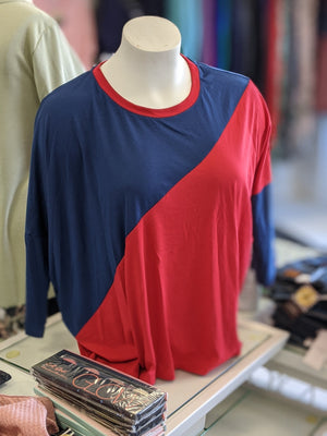 Blue + Red Dolman Sleeve Top Tops Stacked - Fashion for Curves