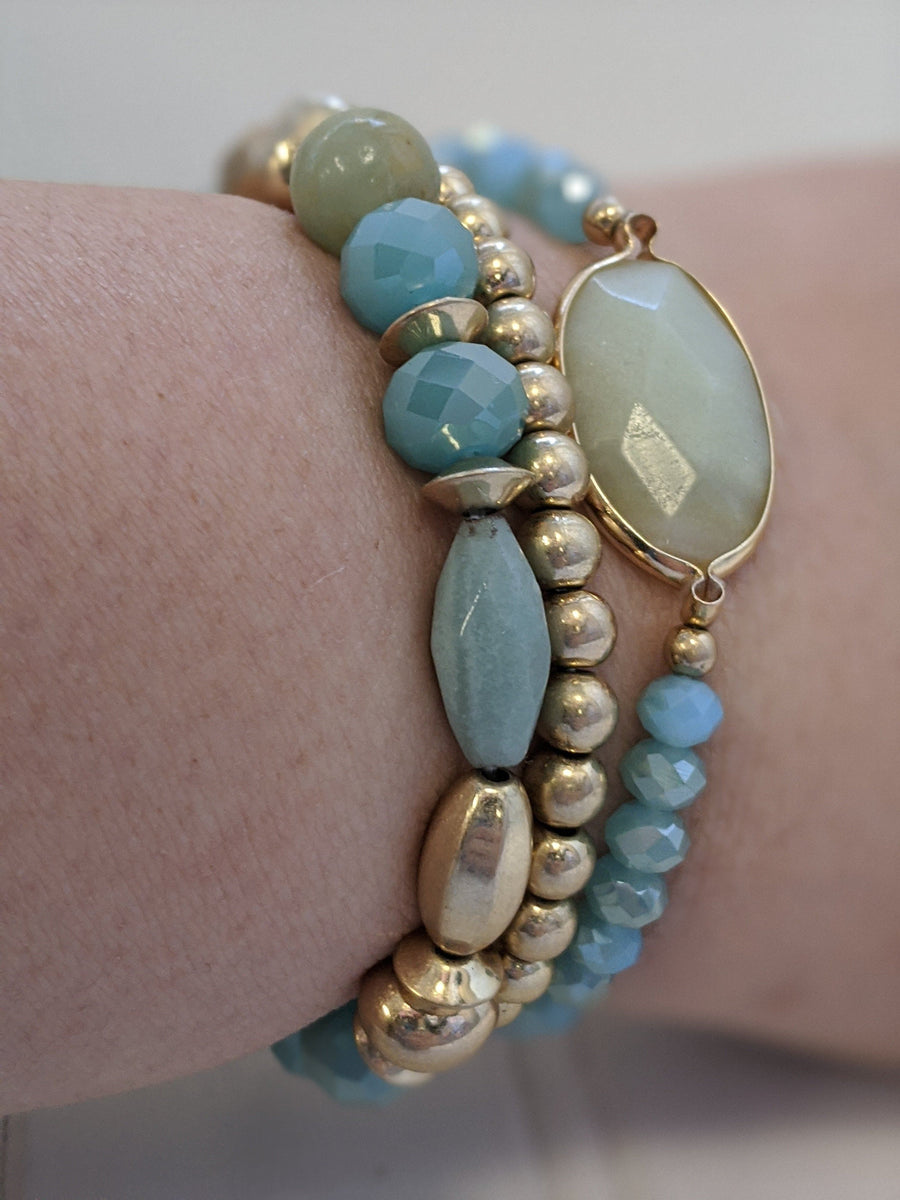 Large Stone Stacked Stretch Bracelet Jewelry southern seoul