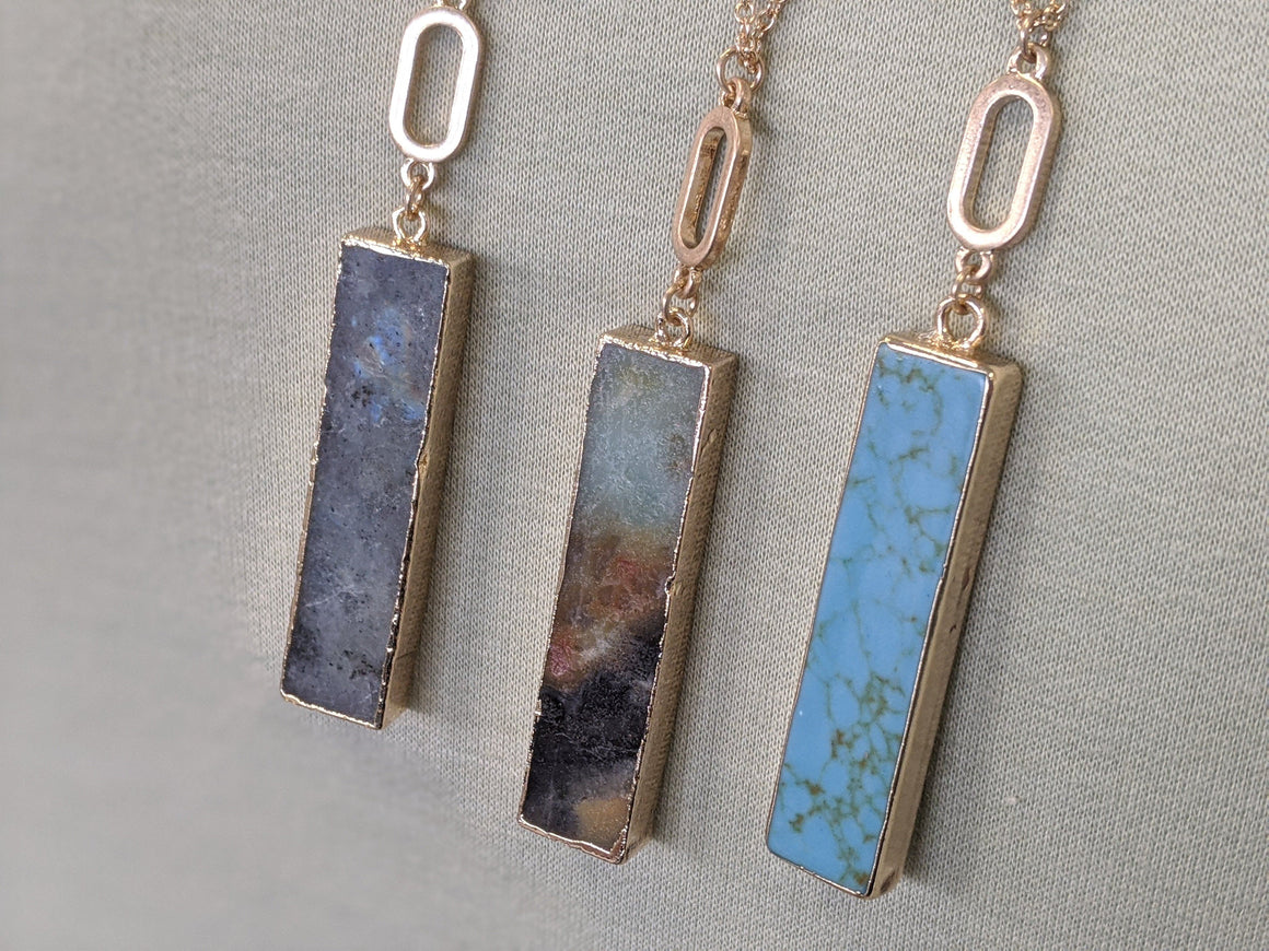 Drop Stone Rectangular Necklace Jewelry southern seoul