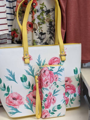 White + Floral Tote w/wallet