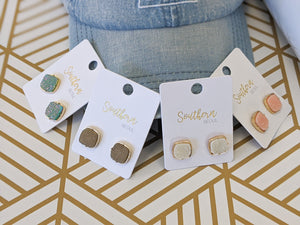 Square Textured Sparkle Earrings