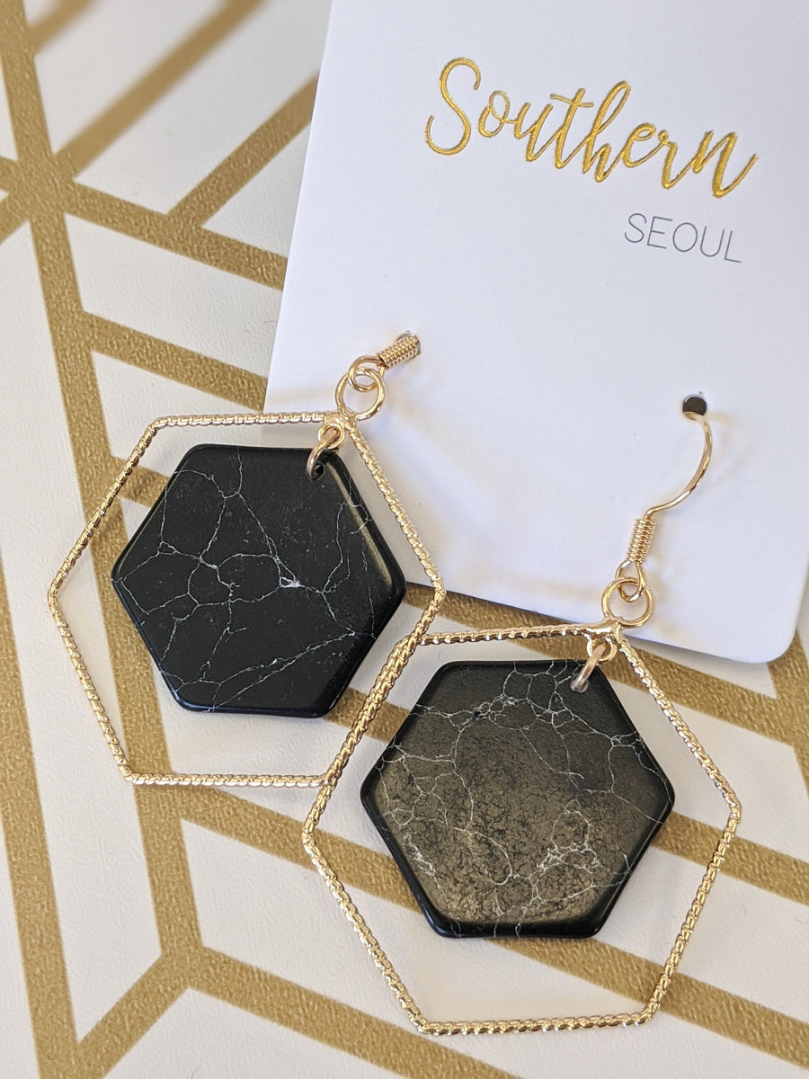 Gold Lined Hexagon Earrings