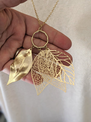 Layered Leaf Long Necklace (more colors!) Jewelry MYS