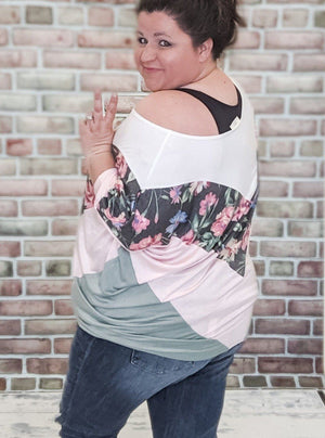 Pink + Sage Floral V-Detail Top Tops Stacked - Fashion for Curves