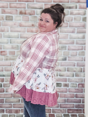 PINK WHITE tiered half buttonup Tops Stacked - Fashion for Curves