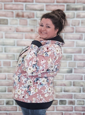 Pink Floral Hoodie with Navy Details Sweatshirts Stacked - Fashion for Curves