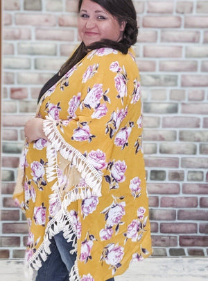 Mango Fringe + Floral Kimono Tops Stacked - Fashion for Curves