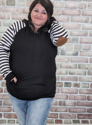 Black + White Striped Hoodie with Heart Patches