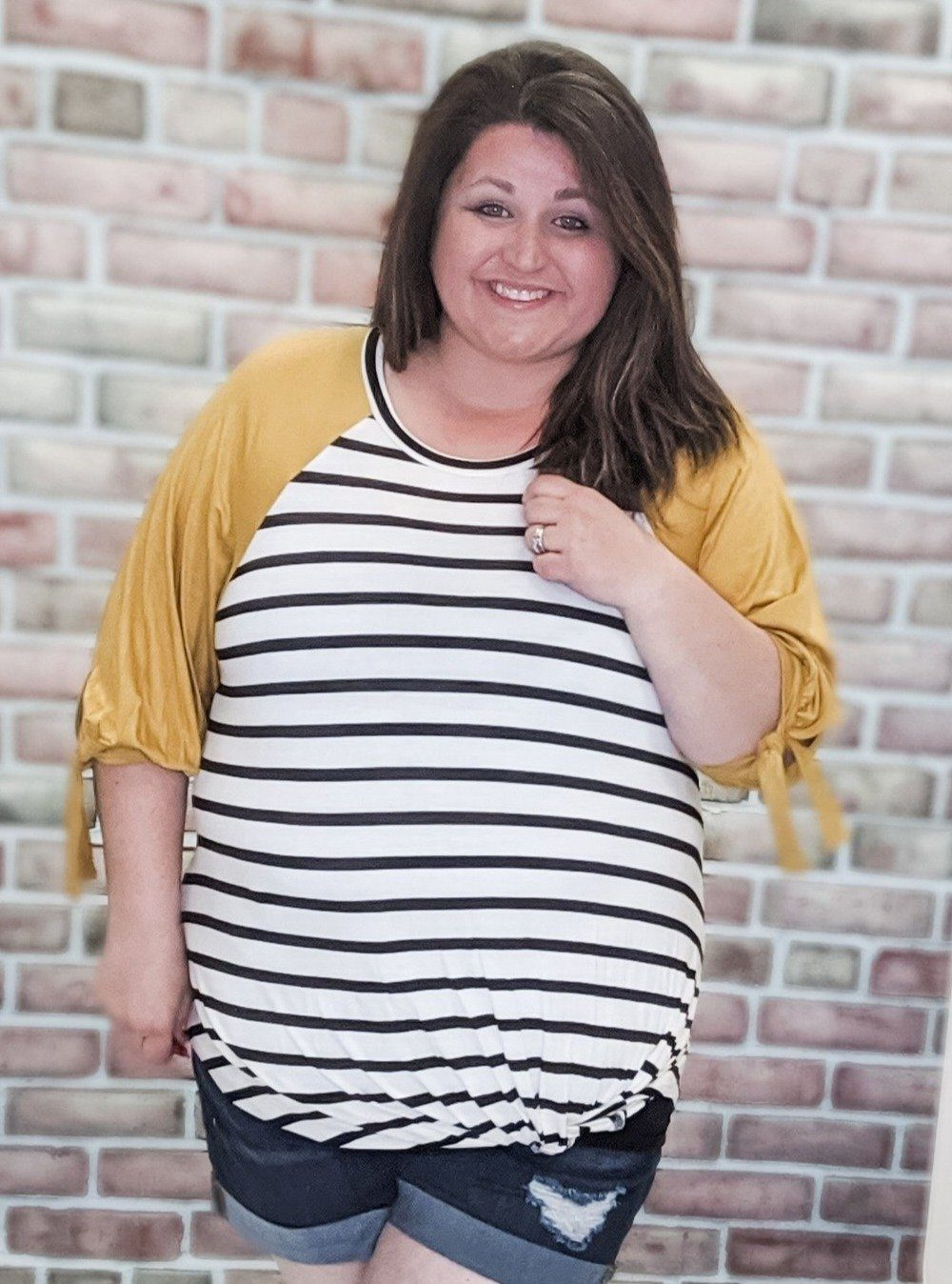 Mustard Sleeve 3/4 Striped Top