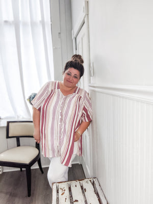 Vertical Striped Flowy Top Tops angie