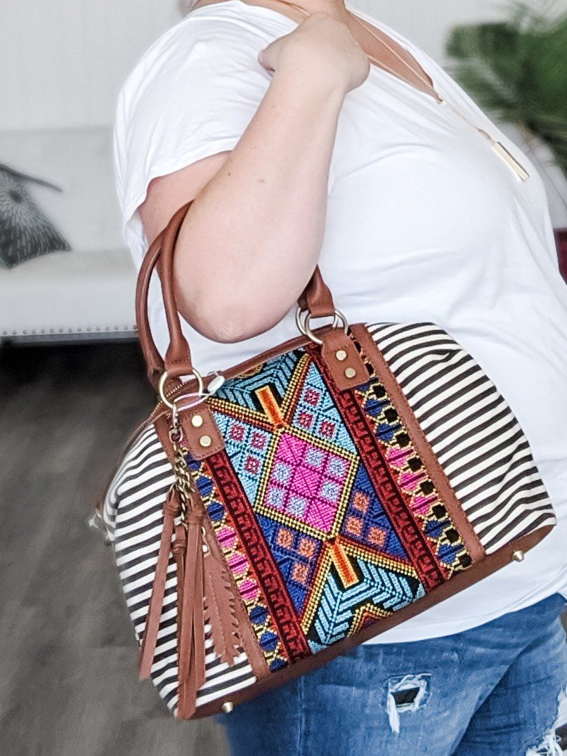 Stripe + Embroidered Bag handbags bag boutique