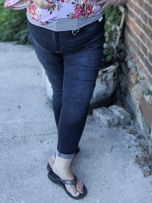 Dark Wash Cuffed Jeggings