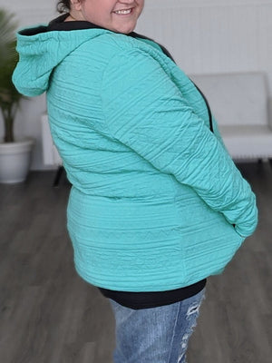 Premium Hoodies- Teal Aztec 1/2 Zip hoodies Michelle Mae