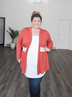 Burnt Orange Cardigan w/crochet waist Tops voll