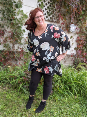 Black Fall Floral High-Low Tunic Tops voll