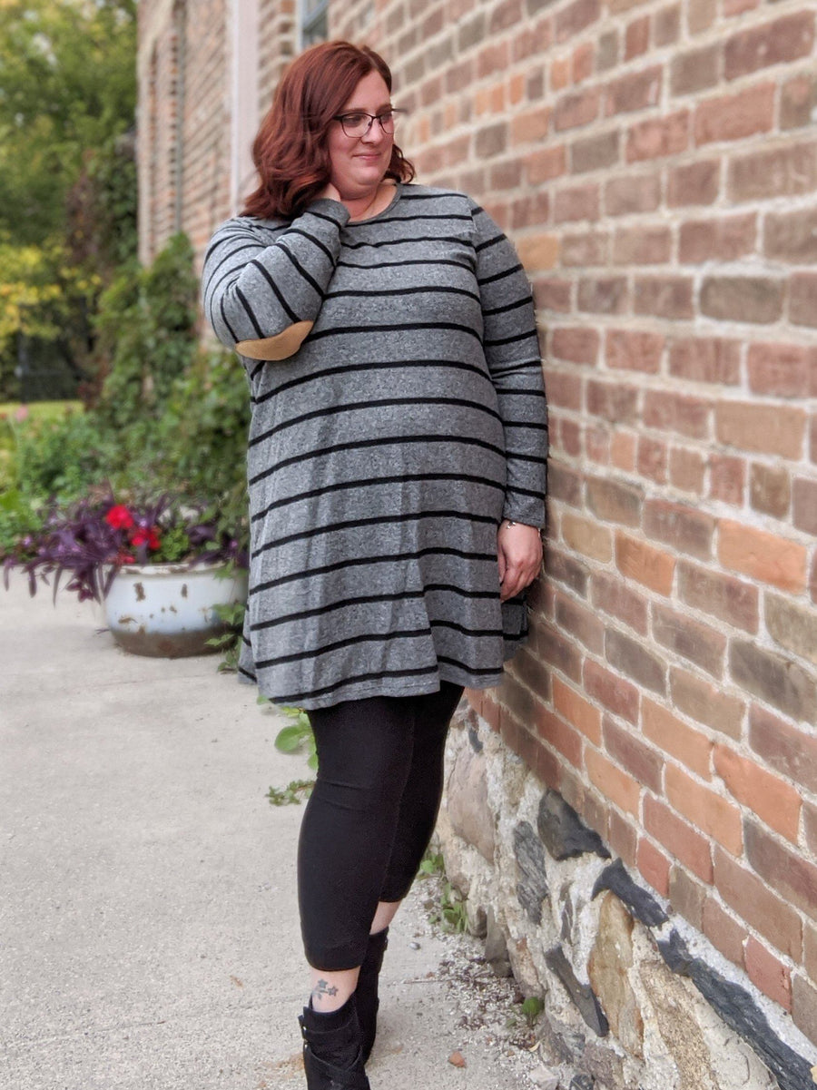 Gray Striped Dress w/Elbow Patches (more colors!)