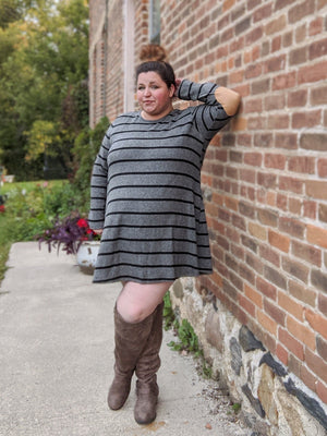 Gray Striped Dress w/Elbow Patches (more colors!) Dresses veveret