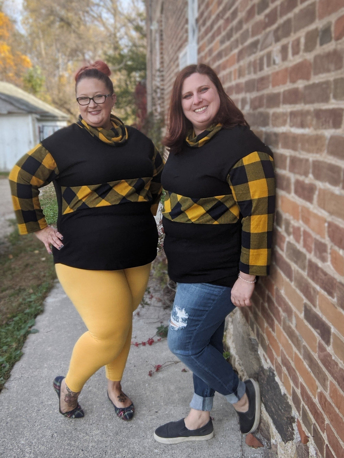 Mustard and Navy Plaid Cowlneck
