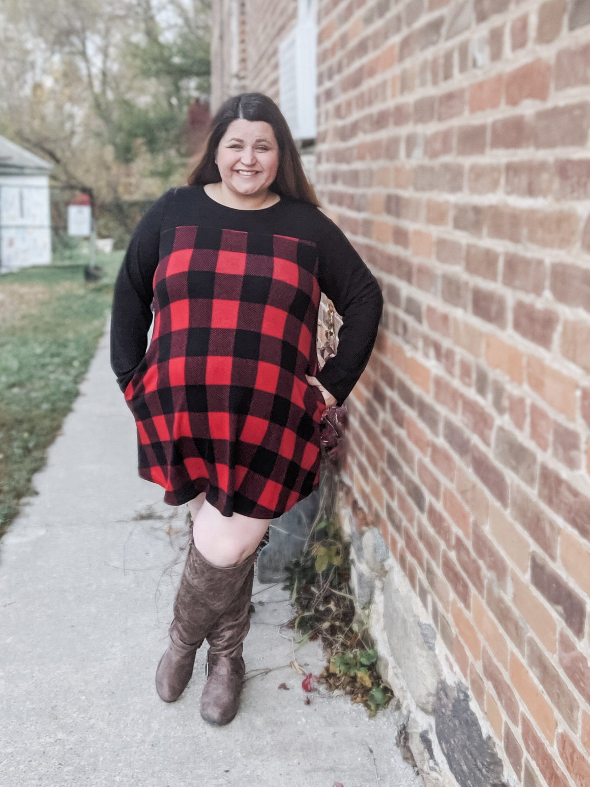Buffalo Plaid + Black Raglan Dress/Tunic Tops voll
