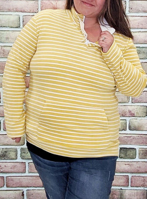 Yellow Stripe Halfzip- Softest Sweatshirts Collection