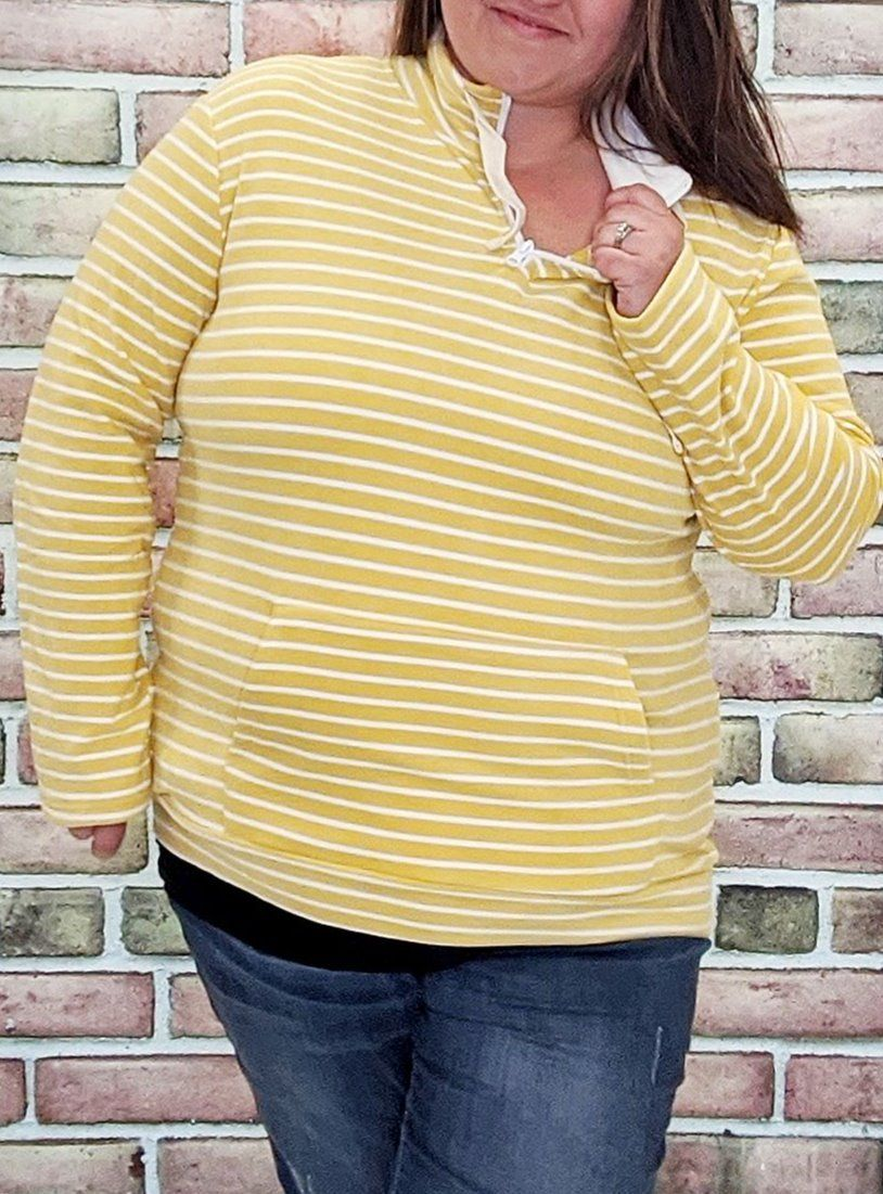 Yellow Stripe Halfzip- Softest Sweatshirts Collection Sweatshirts Stacked Consignment