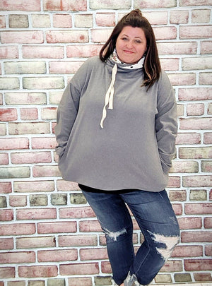 Gray Cowlneck- Softest Sweatshirt Collection Stacked Consignment