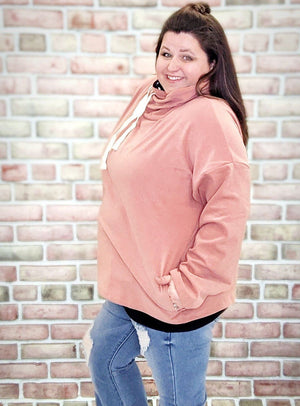 Pink Cowlneck- Softest Sweatshirt Collection Sweatshirts Stacked Consignment